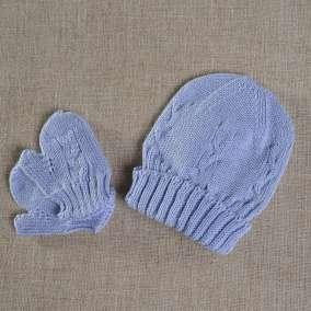 Touca e Luva Azul Bebê