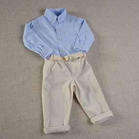 Conjunto Calça Sarja e Camisa Azul