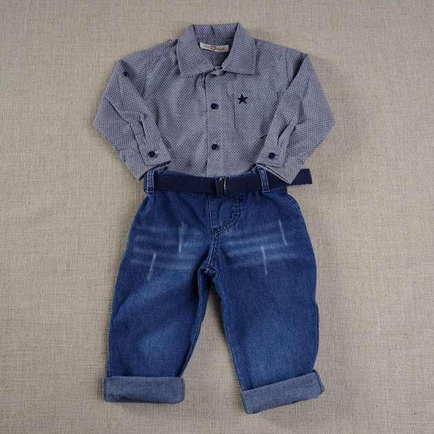 Conjunto Calça Jeans e Camisa Xadrez
