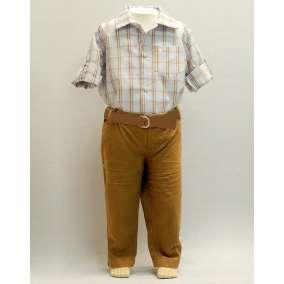 Conjunto de Calça Sarja e Camisa Xadrez