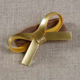 Laço Couro Dourado