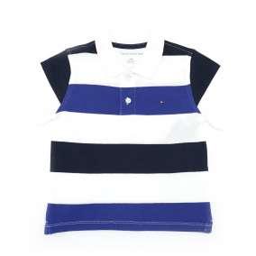 Camiseta Manga Curta Gola Polo Azul/Branca Tommy