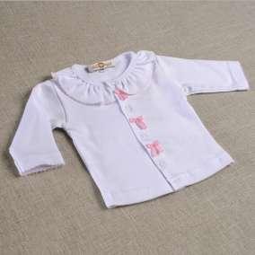 Conjunto Casaquinho Branco Laços Rosa