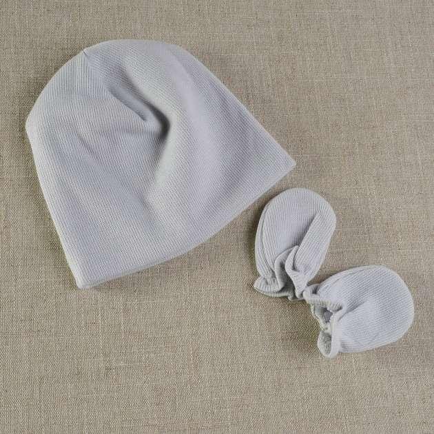 Touca e Luva Bebê  Cinza Claro