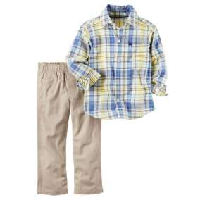 2 Peças - Camisa Xadrez e Calça Bege Carter's