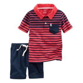 Conjunto Camiseta Polo Listrada e Bermuda Azul Carter's
