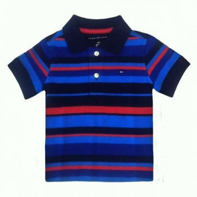 Camiseta Gola Polo Listrada Azul Tommy
