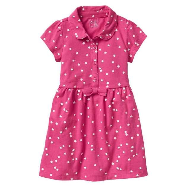 Vestido Gola Polo Pink com Estrelas  GAP