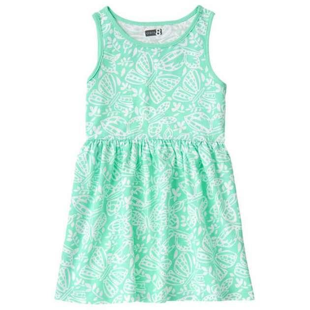 Vestido Verde com Borboletas Brancas