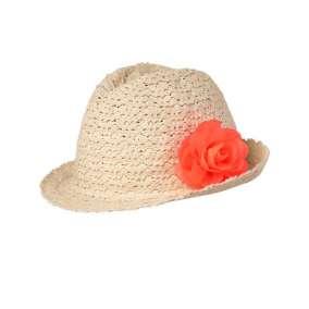 Chapéu Panamá com Flor Laranja