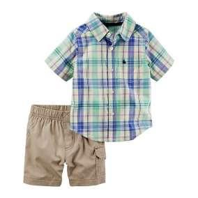 Camisa Xadrez e Bermuda Bege Carter's