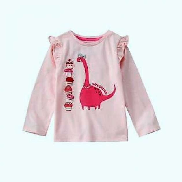 Camiseta Rosa Manga Longa Dino