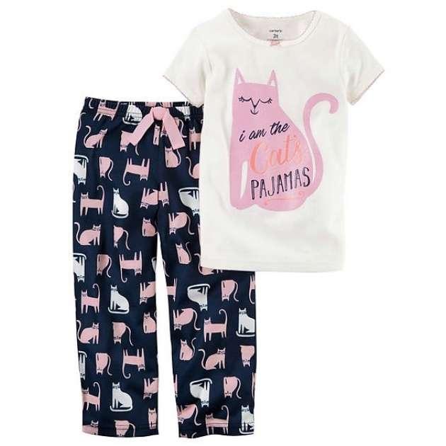 Pijama Manga Curta Calça Gatinho Carter's