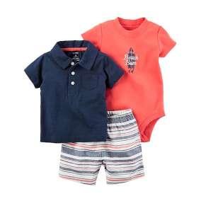 Conjunto Body e Camiseta Polo com Bermuda Carter's