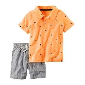 Camiseta Polo Laranja e Bermuda  Carter's