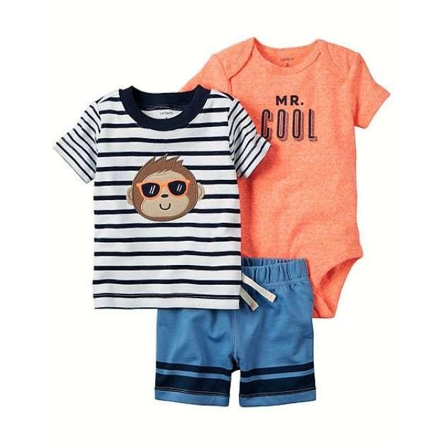 Conjunto Body e Camiseta Macaco com Bermuda Carter's