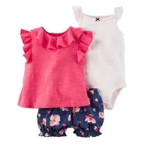 Body, Camiseta Pink  e Tapa Fralda Carter's