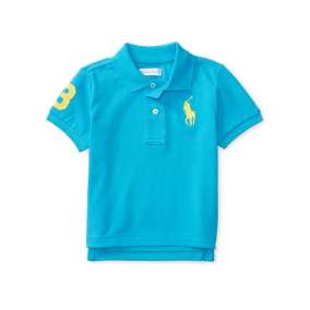 Camiseta Gola Polo Azul Piscina Manga Curta Polo Ralph Lauren