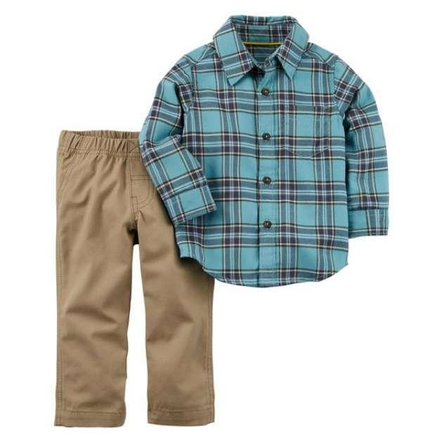 Conjunto Camisa Manga Longa Botões e Calça Sarja Carter's