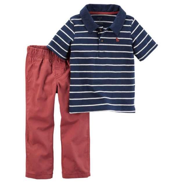 Conjunto Camiseta Gola Polo Manga Curta e Calça Sarja Carter's